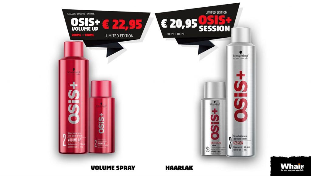 Nu bij Whair Kappers Osis Volume up en Session tijdelijk verkrijgbaar im een 100 ml actie.