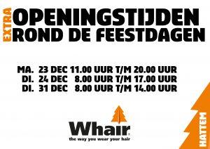 openingstijden extra feestdagen Whair kappers Hattem stadshagen Zwolle