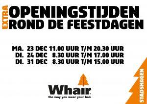 openingstijden kerst whair kappers Hattem stadshagen Zwolle